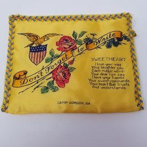 Vintage 1940's WWII Souvenir Handkerchief Holder